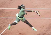 Serena Williams serves to Mihaela Buzarnescu during their second-round match on day four of the French Open at Roland Garros in Paris, France, on Wednesday.                                  AP photo