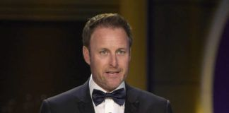 """FILE - In this April 29, 2018, file photo, Chris Harrison presents the award for outstanding entertainment talk show host at the Daytime Emmy Awards at the Pasadena Civic Center in Pasadena, Calif. Harrison is stepping aside as host of """"The Bachelor"""" franchise. (Photo by Richard Shotwell/Invision/AP, File)"""