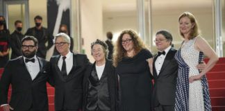 Adam Kurnitz, from left, director Todd Haynes, Christine Vachon, Julie Goldman, Christopher Clements and Carolyn Hepburn pose for photographers upon arrival at the premiere of the film 'The Velvet Underground' at the 74th international film festival, Cannes, southern France, last week.                                  AP photo