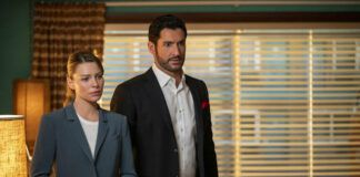 """This image released by Netflix shows Lauren German, left, and Tom Ellis in a scene from """"Lucifer."""" The final season of the popular supernatural series is streaming on Netflix. ( John P. Fleenor/Netflix via AP)"""